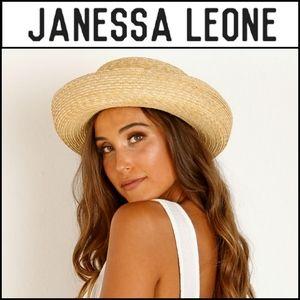 🆕️ JANESSA LEONE Robin Curled Brim Straw Hat!
